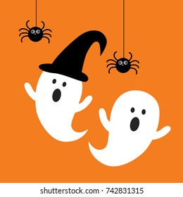 Happy Halloween ghost with black spider flat icon vector