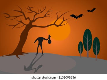 Happy Halloween ghost in forest with moon   night.Illustration vector.