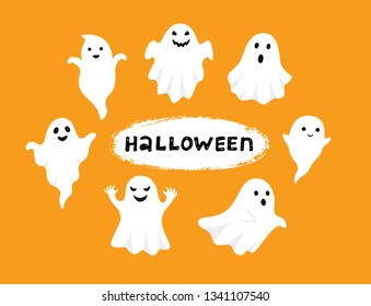 Happy Halloween, Ghost, Scary white ghosts. Cute cartoon spooky character. Smiling face, hands. Orange background Greeting card.