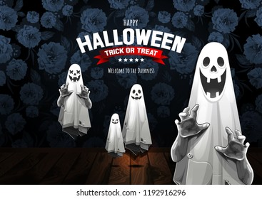 Happy Halloween, Ghost, treat or trick, Vector illustration,  horizontal Poster, you can place relevant content on the area.