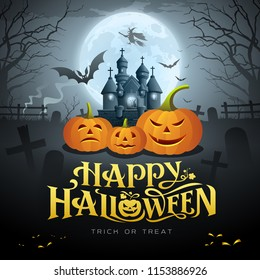 Happy Halloween gold message, pumpkin bat, witch, castle, design on moon background, vector illustrations