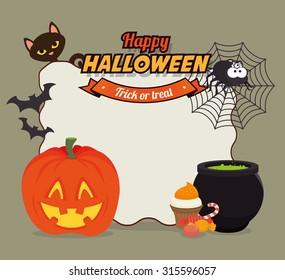 Happy halloween graphic design, vector illustration eps 10
