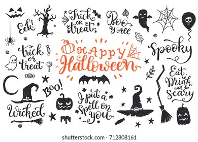 Happy Halloween graphic and lettering set. Trick or Treat, Boo, I put a spell on you and another phrases with hand drawn symbols