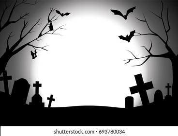 happy halloween with graveyard silhouette background, black halloween party greeting, vector illustration