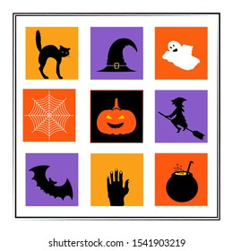 Happy Halloween greating card or banner temlate. Silhouettes icons Vector illustration set. Halloween horror characters. Black Cat,witch hat, ghost, witch, bad, potion, pumpkin, zombi hand, spider web.