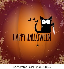 Happy halloween greeting card or banner with Black cat holding knife isolated on grunge orange background. Funny Halloween black cat holding a bloody knife . Halloween concept illustration