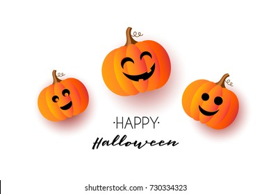Happy Halloween greeting card with bat, spider, pumpkin, lettering, spiderweb. Banner, poster, voucher, offer, coupon, holiday sale. Vector illustration. Cute creepy background.