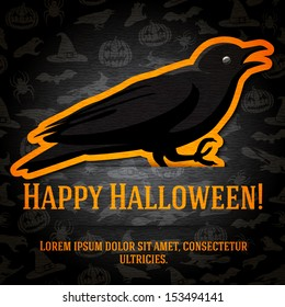Happy Halloween Greeting Card With Black Raven Sticker Cut From The Paper And Placed Between Ribbon