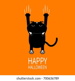 Happy Halloween Greeting card. Cartoon black cat. Back view with head. Animal scratch scrape track. Cute funny character. Orange background.  Flat design. Vector illustration