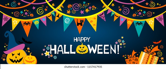 Happy Halloween. Greeting card.  Celebration dark background with garland, pumpkin, cat, hat, gift box and place for your text. Vector illustration