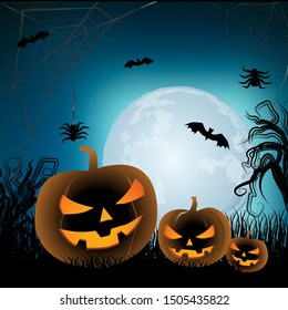 Happy Halloween greeting card with cool moon background.  Halloween  background with pumpkins bat and spiders on moon background.