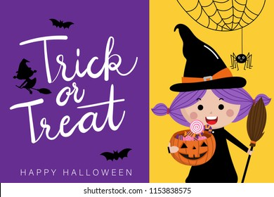 Happy halloween greeting card with cute witch and spider. Trick or treat calligraphy hand written, Pumpkin and candy holiday cartoon