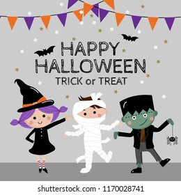 Happy Halloween greeting card with cute kids in ghost costume. Witch, mummy and zombie party. Trick or treat with girl and boy.