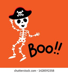 Happy halloween greeting card with cute skeleton wear pirate hat. Holidays cartoon character vector. Calligraphy hand written.