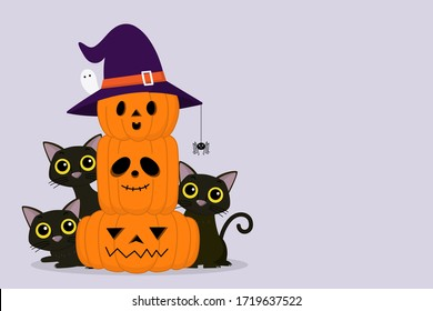 Happy Halloween greeting card with cute black cat and spooky pumpkin wear witch hat. Animal holidays cartoon character. -Vector.