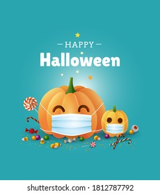 Happy Halloween greeting card design. Cute illustration with pumpkins wearing face masks for protection from coronavirus and sweets on green background. - Vector