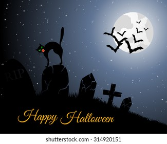 Happy Halloween Greeting Card. Elegant Design With Cemetery, Cat on Grave, Moon on Starry Sky and Silhouettes of Flying Bats.  Vector illustration.