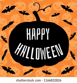Happy Halloween greeting card, flyer or brochure with cute orange background with pumkins and bats