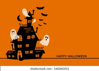 Happy halloween greeting card with haunted house and scary ghost. Holidays party poster.