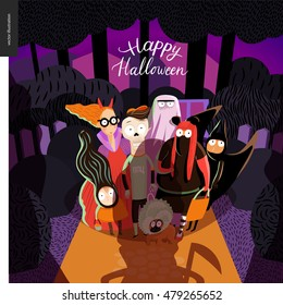 Happy Halloween greeting card with lettering. Vector cartoon illustrated group of kids wearing Halloween costumes and a french bulldog, scared by old lady opened the door.