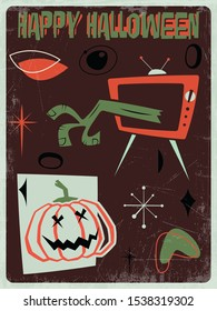 Happy Halloween Greeting Card Mid Century Modern Style Postcard, Pumpkin, Dead Hand, TV, Vintage Colors and Shapes, Grunge Texture Pattern