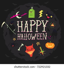 Happy Halloween greeting card with spooky elements floating around. Vector illustration with dark background and pink, green, black and white elements