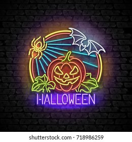 Happy Halloween Greeting Card Template. Shiny Neon Lamps Glow Style on Black Brick Wall. Singboard with Jack o Lantern Pumpkin, Spider and Bat Symbols. Beautiful Holiday Flyer. Vector 3d Illustration