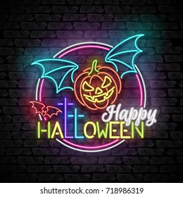 Happy Halloween Greeting Card Template. Shiny Neon Lamps Glow Style on Black Brick Wall. Singboard with Vampire Pumpkin, Bat and Cross Symbols. Beautiful Holiday Flyer. Vector 3d Illustration.