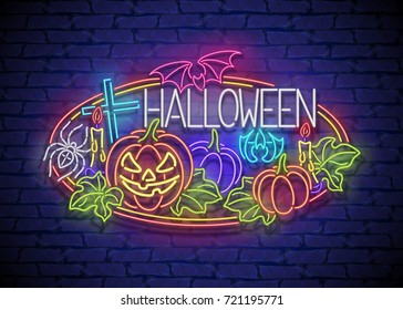 Happy Halloween Greeting Card Template. Shiny Neon Lamps Glow Stylization on Blue Brick Wall. Singboard with Pumpkins, Bat, Cross and Spider Symbols. Beautiful Holiday Flyer. Vector 3d Illustration.