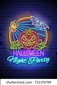 Happy Halloween Greeting Card Template. Shiny Neon Light Stylization on Blue Brick Wall. Singboard with Jack o Lantern Pumpkin, Spider and Bat Symbols. Beautiful Holiday Flyer. Vector 3d Illustration