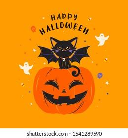 Happy Halloween greeting card vector illustration. Devil black cat sitting on pumpkin