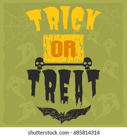 Happy halloween greeting card vector illustration party invitation design with spooky emblem.