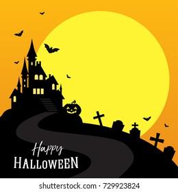 Happy Halloween greeting card vector illustration, Full moon with scary castle and copy space.