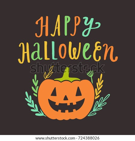 Happy halloween greeting card vector hand stock vector royalty free happy halloween greeting card vector hand drawn cute illustration holiday decoration m4hsunfo