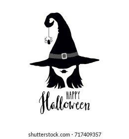 Happy Halloween greeting card with witch in hat. Black and white vector illustration. Design elements for Halloween event.
