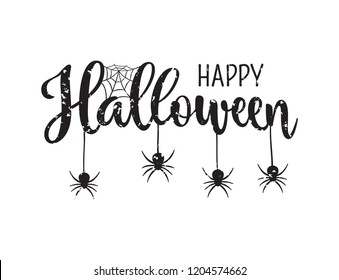 Happy Halloween greeting. Hand drawn lettering typography with scratches on white background