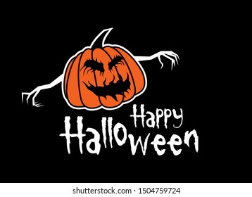 Happy Halloween greeting inscription vector. Happy Halloween with pumpkin vector. Halloween pumpkin isolated on a black background. Pumpkin with sinister smiling face. Scary halloween pumpkin vector