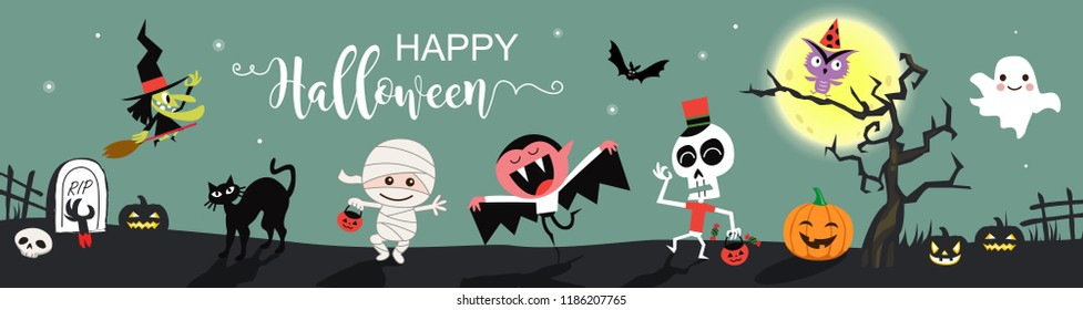 Happy Halloween greetings template vector. Vector illustration.