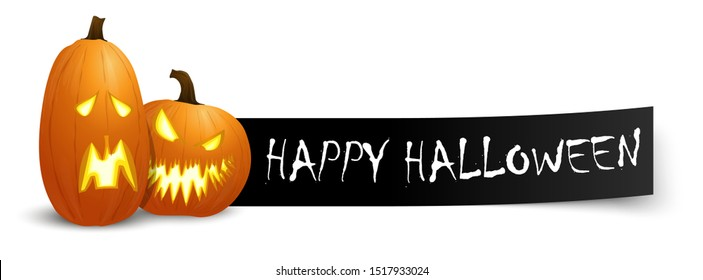 happy halloween greetings text on black banner with two spooky orange pumpkins for Halloween October time