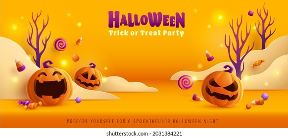 Happy Halloween. Group of 3D illustration pumpkin on treat or trick fun party celebration background with paper graphic cloud.
