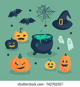 Happy Halloween hand drawn illustrations and elements. Halloween design elements, icons and objects. Ghost, spiderweb, pumpkin, bat, jack o lantern, witch hat