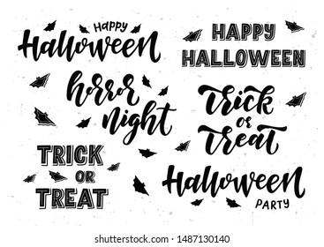 Happy Halloween hand drawn lettering set. Template banner, poster, flyer, greeting card, web design, print design. Vector illustration.