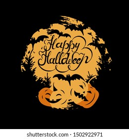 Happy Halloween hand drawn lettering with moon, bats and pumpkins. Vector illustration isolated on background. Great for greeting card, print, party invitation, t-shirt design, flyer, poster.
