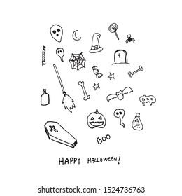 Happy halloween hand drawn vectors set