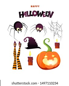 Happy Halloween hand lettering text with pumpkin, candles, spiders, witch's legs and hat. Good for greeting card, Halloween party invitation, banner, postcard, poster template. Vector illustration.
