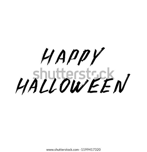 Happy Halloween Hand Written Brush Grunge Stock Vector