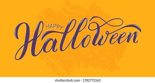 Happy Halloween hand written text. Vector illustration isolated on orange background. Script brushpen lettering with flourishes. Handwriting for banner, poster, greeting card or invitation