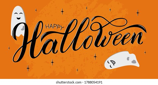 Happy Halloween hand written text. Vector illustration with funny ghosts on orange background. Script brushpen lettering with flourishes. Handwriting for banner, poster, greeting card or invitation