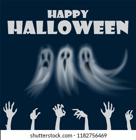 Happy Halloween hands and ghosts poster with text vector. Human zombies arms and apparitions with sad and evil face expression. Poltergeist and fear