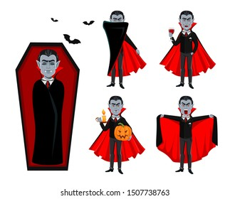 Happy Halloween. Handsome vampire cartoon character in cape, set of five poses. Vector illustration on white background